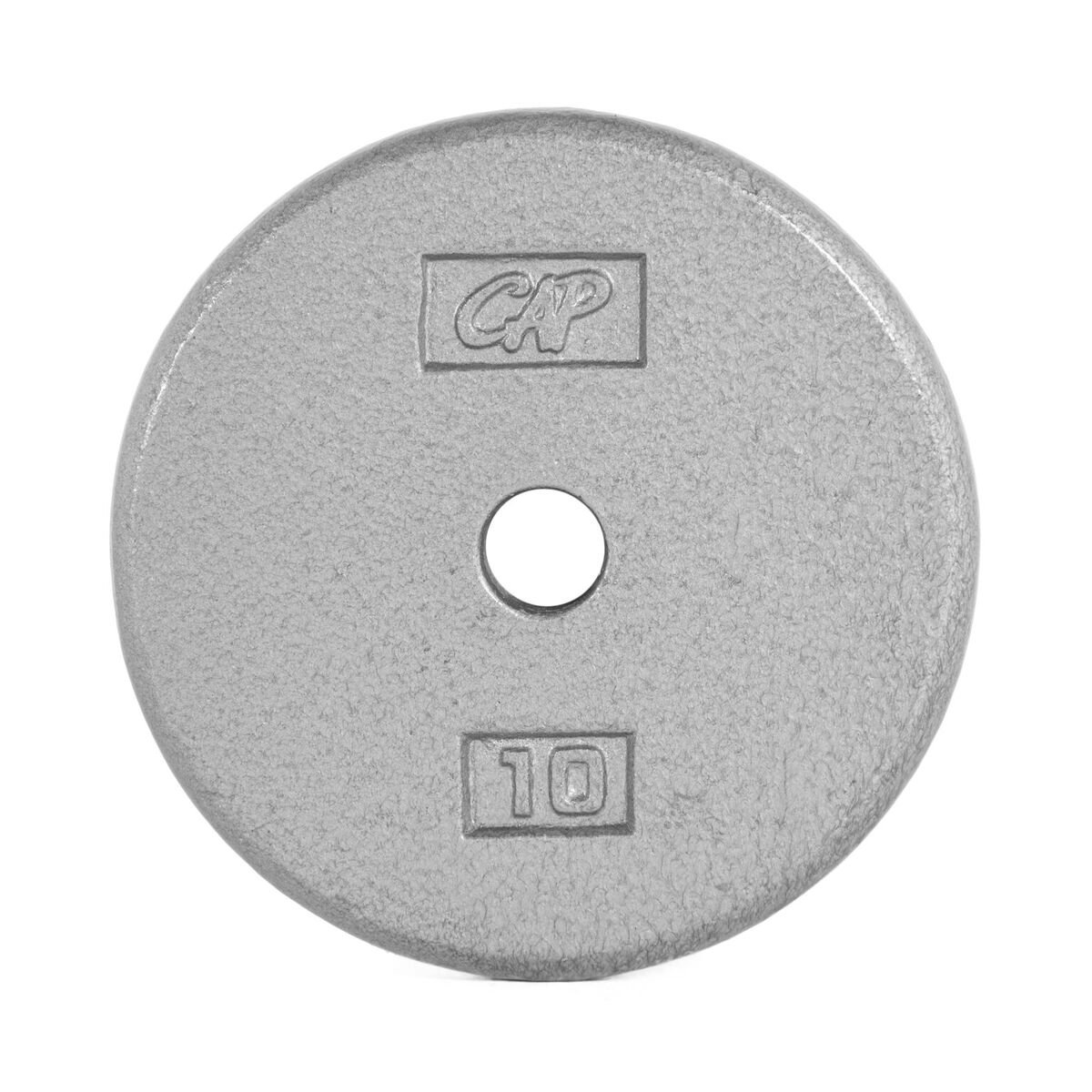 CAP Barbell Cast Iron Standard 1-Inch Weight Plates, Gray, Single, 10 Pound