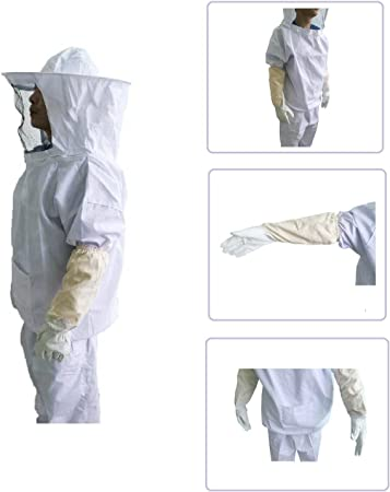 Professional Quality Beekeeping Bee Jacket Leather Gloves Bundle Small