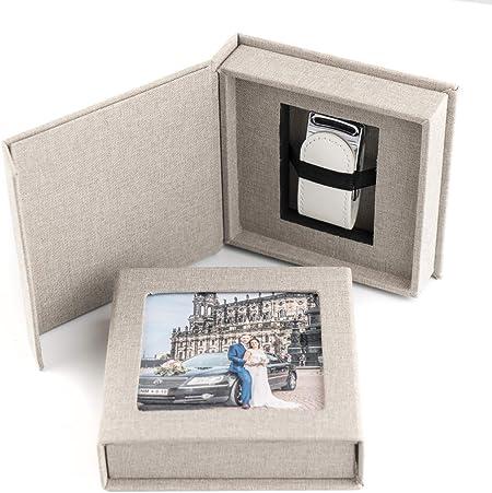 codiarts. Memoria USB 3.0 de 16 GB en Elegante Caja USB con Ventana para Fotos, para Bodas, fotógrafos, Recuerdos de Vacaciones, Regalo (Gris): Amazon.es: Hogar