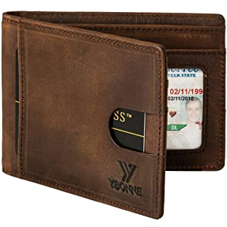 YBONNE RFID Blocking Slim Bifold Wallets for Men, Made of Finest Genuine Leather (Brown)