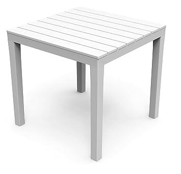 Amazon De Kunststoff Gartentisch Bali Weiss Mit Platte In Holz Optik