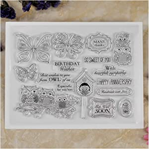 Kwan Crafts Birthday Wishes Happy Anniversary OWL Many Thanks Butterfly Clear Stamps for Card Making Decoration and DIY Scrapbooking