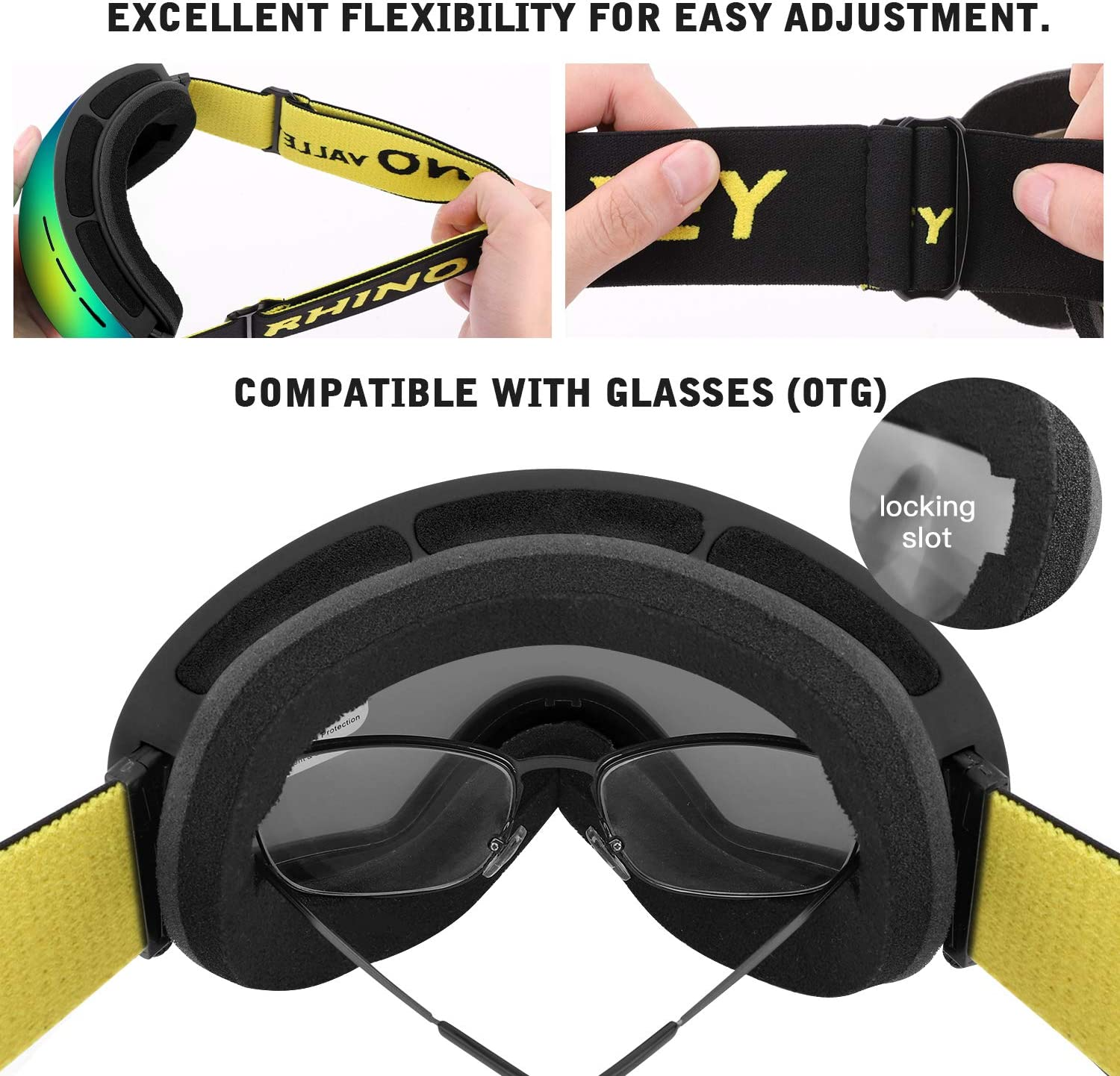 UNIhappy New Anti-fogging Large Sphere Windshield Goggles Snowboarding Skiing Glasses