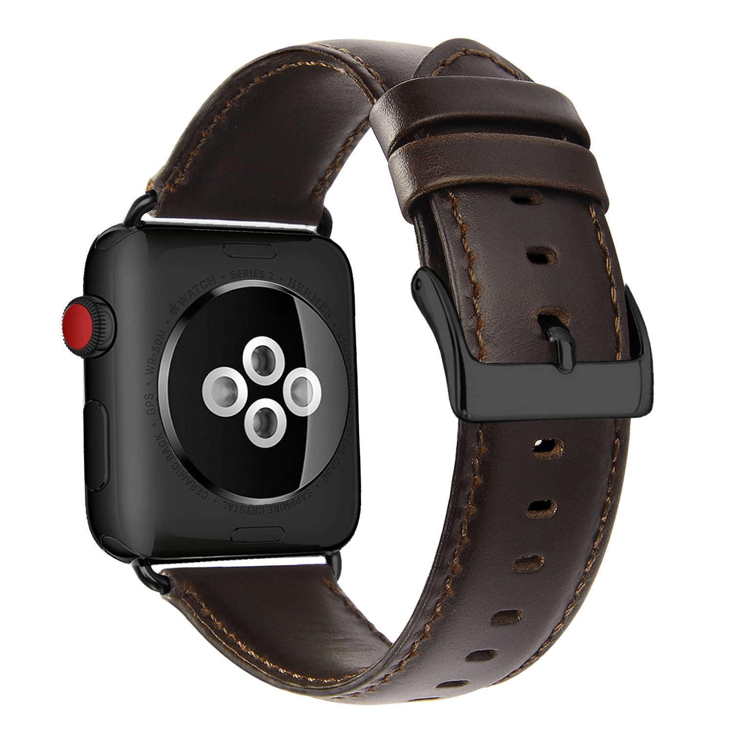 OUHENG Compatible for Apple Watch Band 42mm, Retro Genuine Leather iWatch Strap Replacement Compatible for Apple Watch Series 3 Series 2 Series 1 Sport Edition, Brownish Black Band with Black Adapter by OUHENG (Image #2)