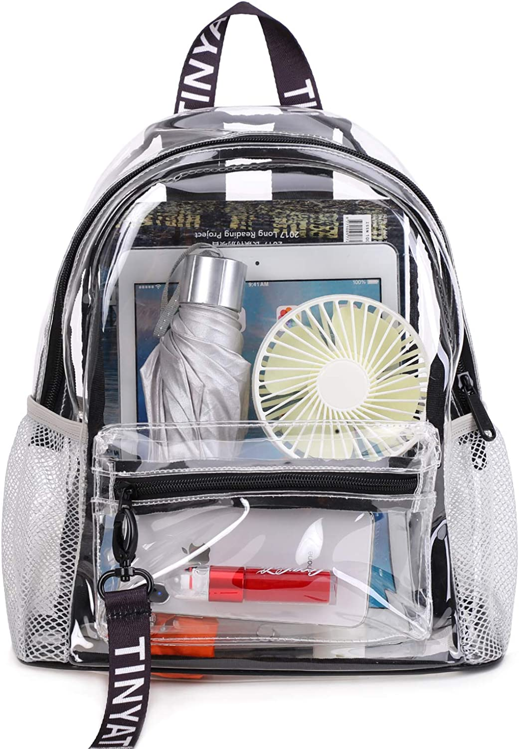 Heavy Duty Transparent Clear backpack,TINYAT See Through Clear Bag for School, Concerts, Sports, Travel and Daily Use