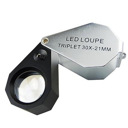 f83767a1eafa5 Amazon.com  30x Jeweler Loupe Magnifier with 6 LED Light  Arts ...