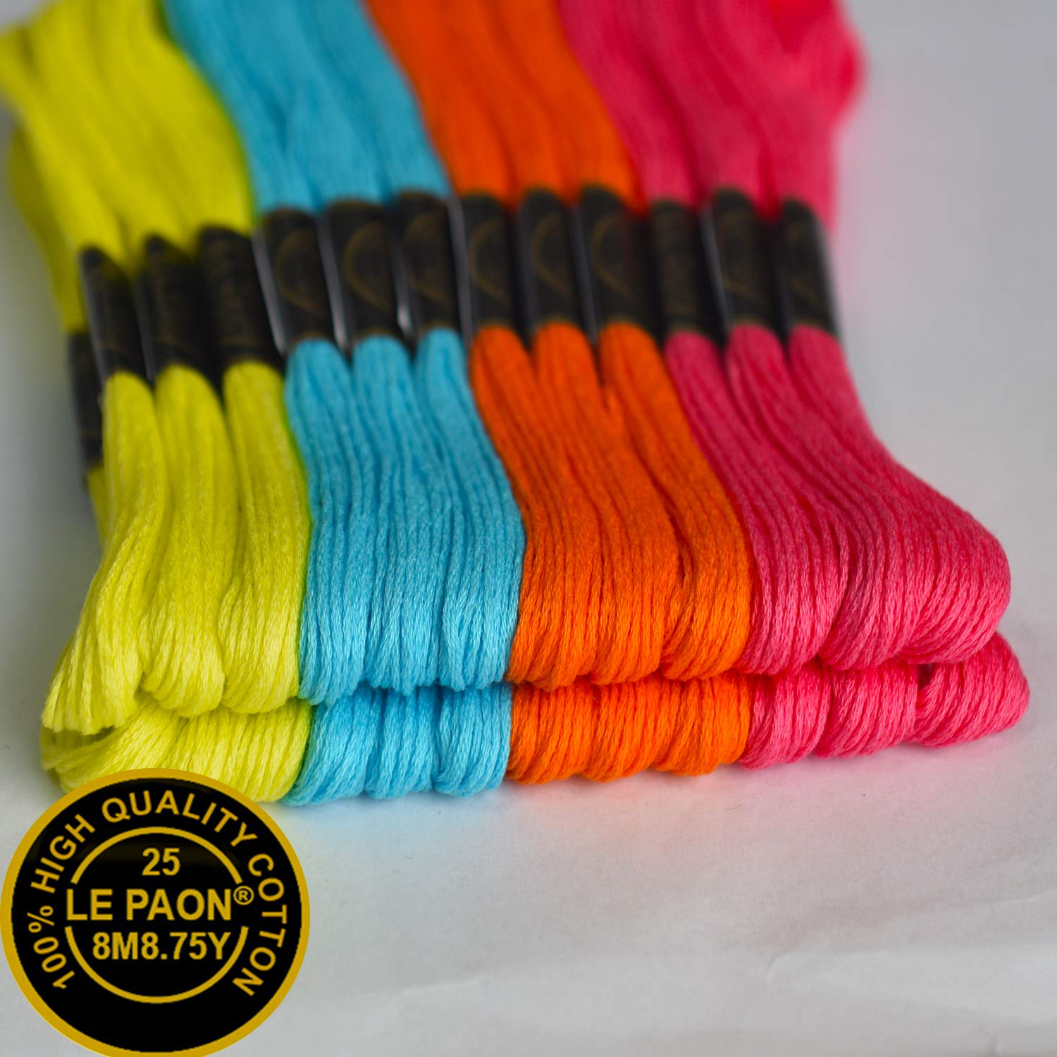 4Color Orange,red,Green/&Purple,24 Skeins Color 973,907,3805,702 Premium Embroidery Floss-Friendship Bracelets Floss-Cross Stitch Threads-Crafts FlossHand Embroidery Thread