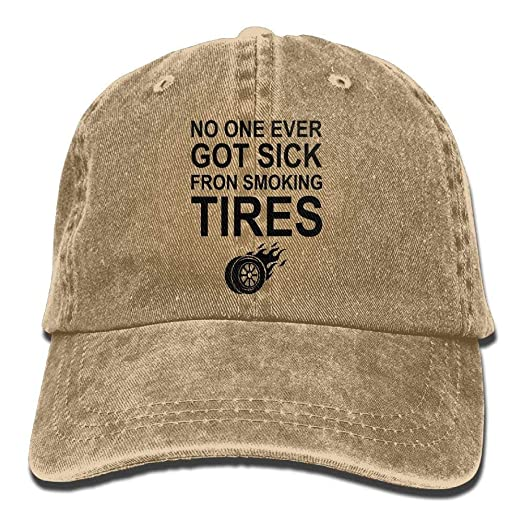 2a472f84c06 Image Unavailable. Image not available for. Color  No One Ever Got Sick  Fron Smoking TiresAdjustable Unisex Baseball Cap Fashion Style Hat ...