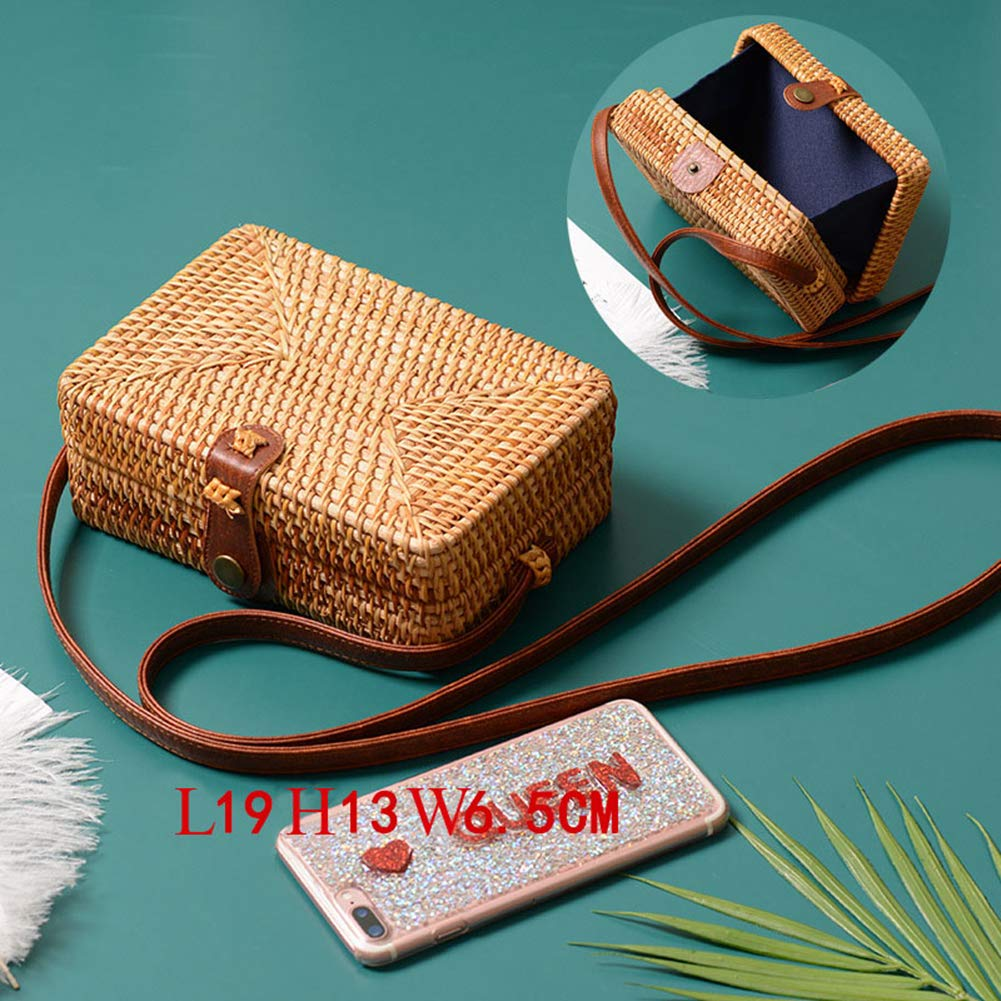 Handmade Rattan Woven Round Women Crossbody Vintage Retro Straw Square Box Messenger Cute Beach Shoulder Bag