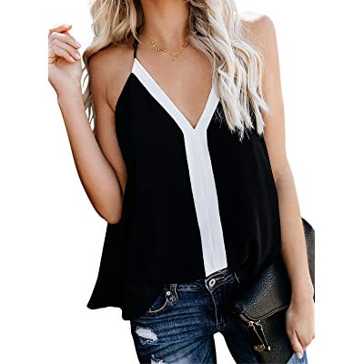 AlvaQ Womens Tanks Casual Spring Fashion Ladies V Neck Camisole Color Block Summer Vest Sleeveless Tops Blouse Shirts Black Small at Women's Clothing store