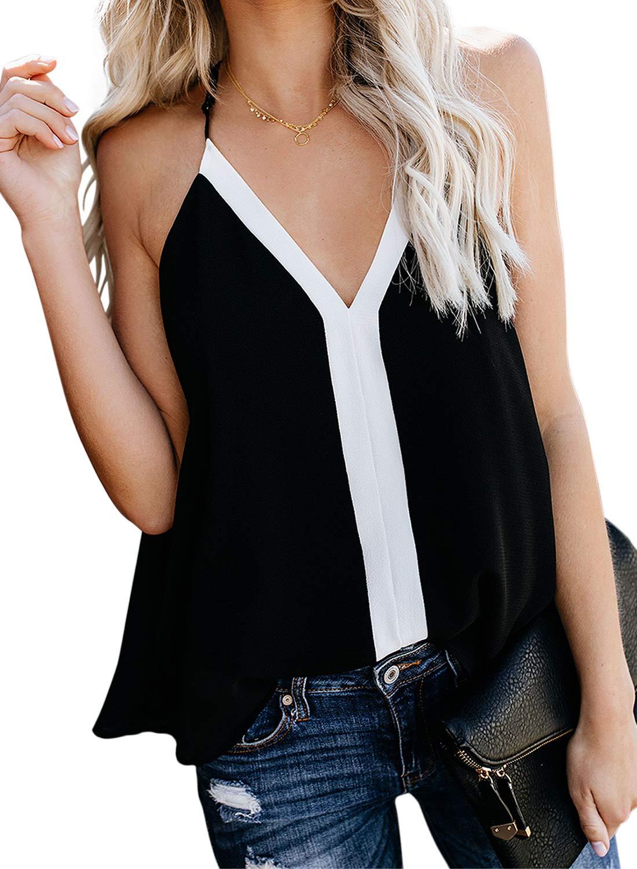 AlvaQ Women Casual Loose Colorblock V Neck Sleeveless Tank Strappy Tops Blouses Cami Shirts Black Medium by AlvaQ