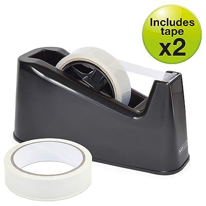 Rapesco Accesorios - Dispensador de cinta adhesiva grande mas 2 rollos, color negro