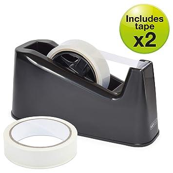 Rapesco Accesorios - Dispensador de cinta adhesiva grande mas 2 rollos, color negro: Amazon.es: Oficina y papelería