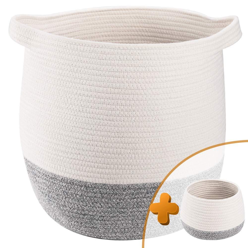 Toy Basket Blanket Basket Rope Basket,Large Basket Pillow Basket for Nursery TerriTrophy 2pc Large Woven Storage Basket with Handles 17 x 16 Laundry Hamper