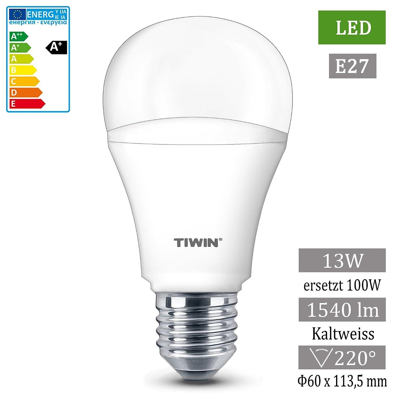 TIWIN E27 Bombilla LED SMD Bulbo del globo luz blanca frío 13W /A+ /=100W /1540 Lumen /5700K /impermeable /220° Lámpara Lamp Luces: Amazon.es: Iluminación