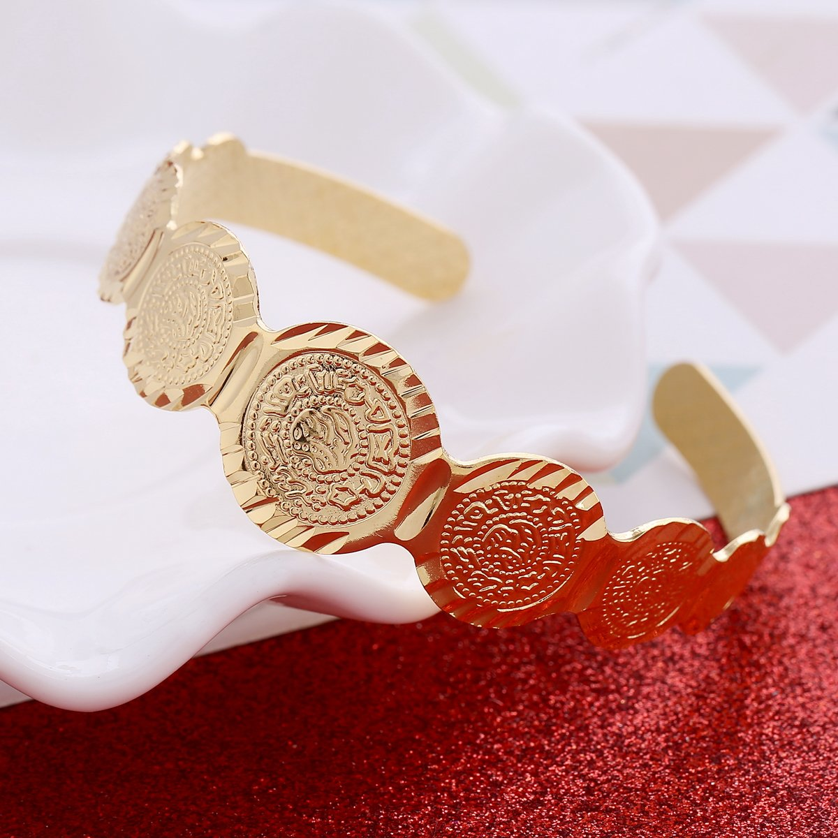 Baby Coin Bracelet Gold Color Arab Coin Bangle for Kids Children Jewelry Middle Eastern Gifts
