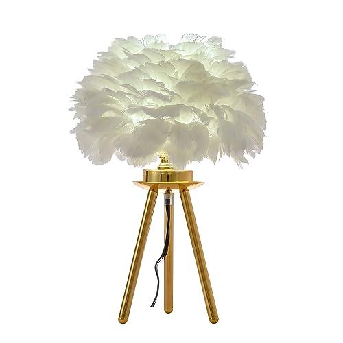 FERWVEW Modern Feather Table Lamp, Gold Tripod Desk Night Light Bedside Table Lamp, Elegant Feather lamp Nightstand Lights for Bedroom Living Room Kids Room Wedding