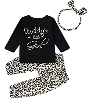 247664cb3a13 Inflant Baby Girl Leopard Outfit Long Sleeve My Aunt Says Yes Shirts Tops  Long Pants Heaband