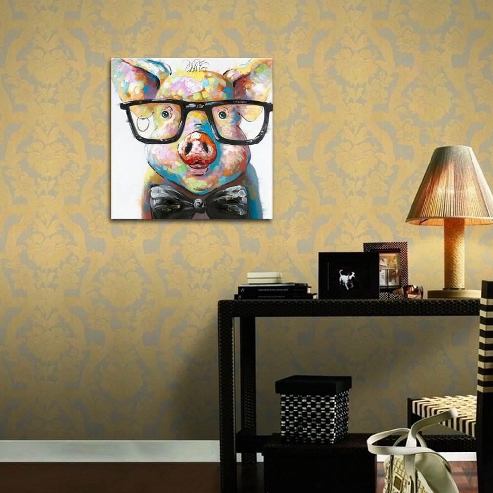 Amazon.com: Muzagroo Art Lovely Pig with Glasses Paintings for ...
