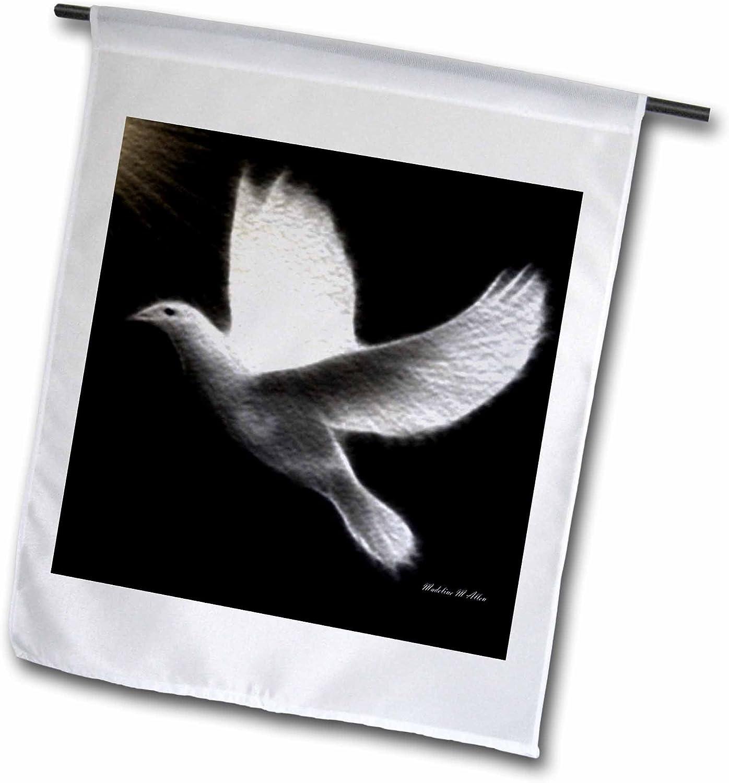 3dRose fl_6578_1 Fractalius Dove-Black-White-Bird Art, Garden Flag, 12 by 18-Inch