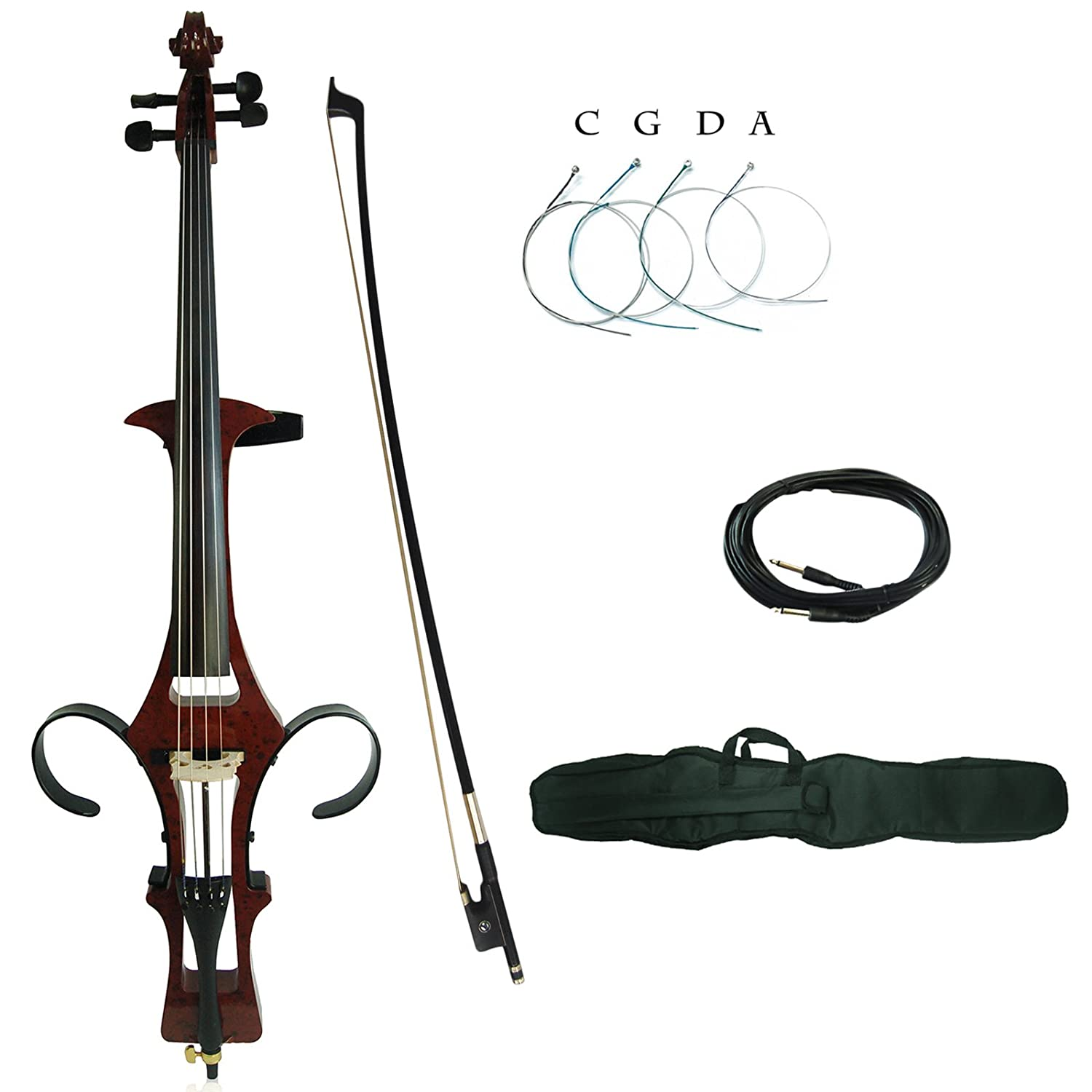 Kinglos 4/4 Black Colored Solid Wood Electric/Silent Cello Kit with Bag, Bow, Rosin, Aux Cable, Earphone, Extra set of strings Full Size (DSDT1801)