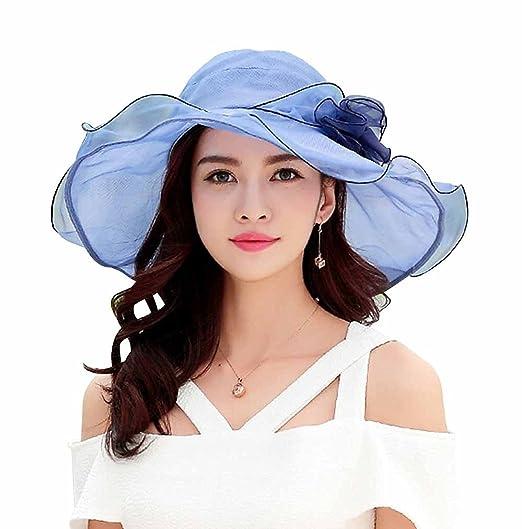 05b15ac4e0d HomArt Women s Summer Sheer UV-proof Sun Hat Foldable Flouncing Triple  Crown Kentucky Derby Hats
