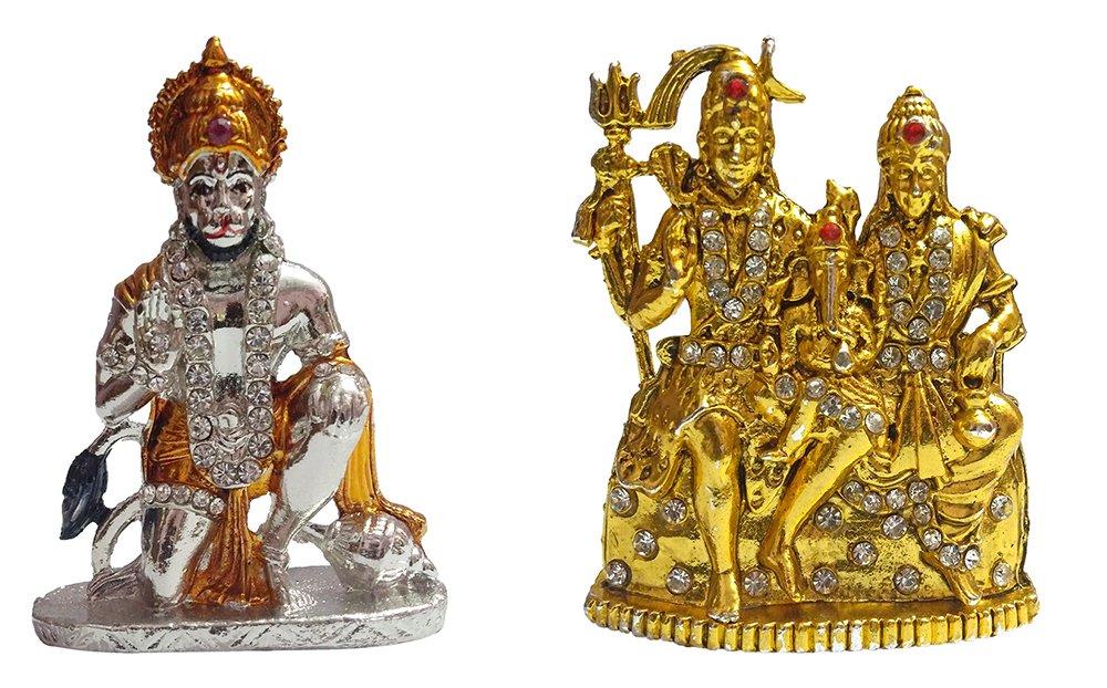 Shiv Parivar Statue Decorative Religious Brass Gold Tone Office Table Home Decor