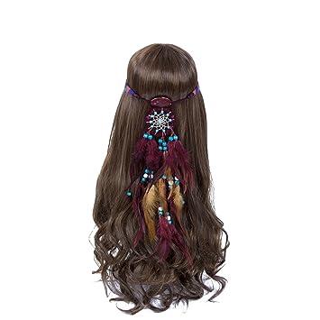 Amazon.com   Dreamcatcher Feather Headband Hippie Headdress - AWAYTR New  Retro Bohemian Indain Style Feather Headwear Fancy Headpieces For Woman    Beauty b636fc056fb