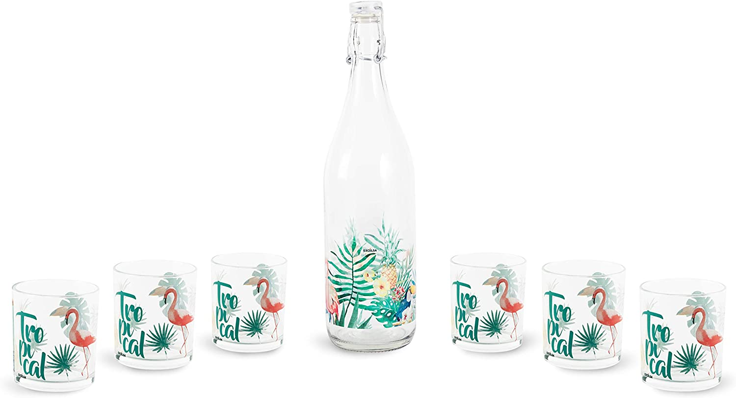 Excelsa - Set de Botella con Vasos, Transparente con decoración Tropical, 7