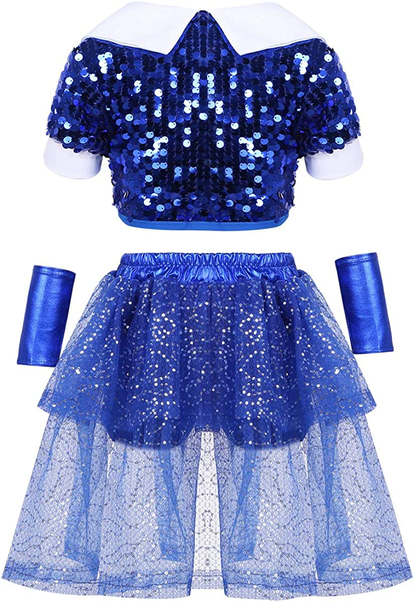 moily Unisex Girls Boys Sequins Hiphop Street Dance Outfit Crop Top with Shorts//Skirts Modern Jazz Performing Suit
