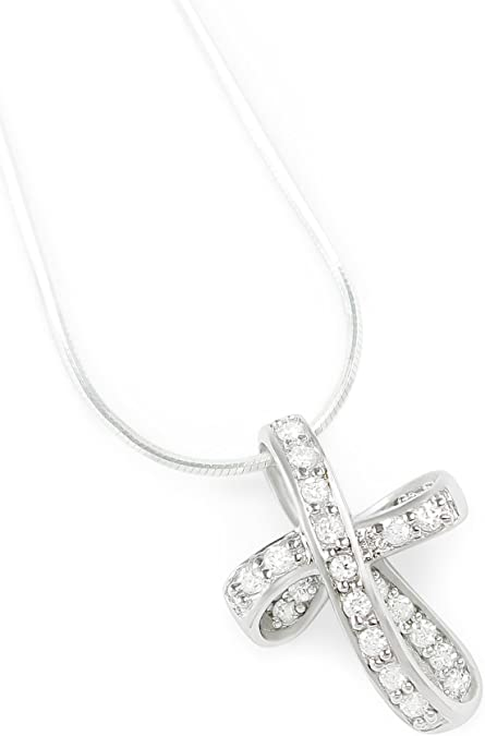 Infinity Ribbon Twist Cross Pendant Necklace For Women Pave CZ Cubic Zirconia Sterling Silver 16 Inch Chain 1.25 In