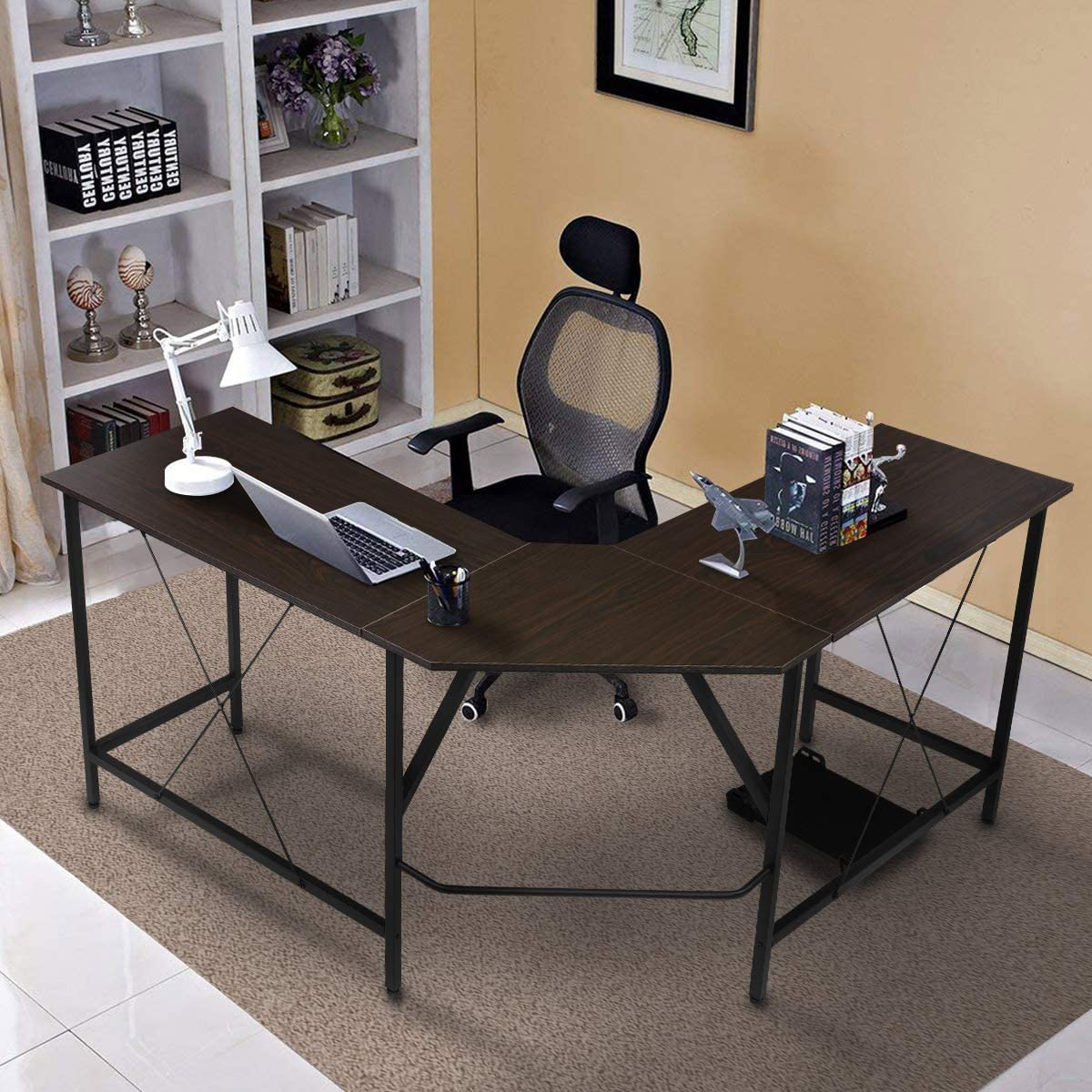 Sekey Home L-Shaped Computer Corner Desk, Writing Workstation, Gaming Desk with Shelf for Home Office, Easy to Assemble, Smoky Oak