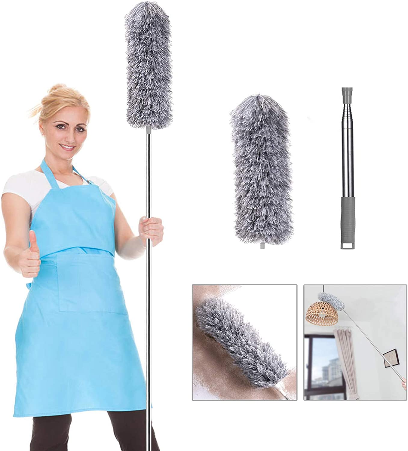 Blinds Telescoping Microfiber Duster for Cleaning Bendable Head /& Washable for Cleaning Ceiling Fan 30 to 100 Cobweb Duster with Extension Pole Furniture /& Cars High Ceiling
