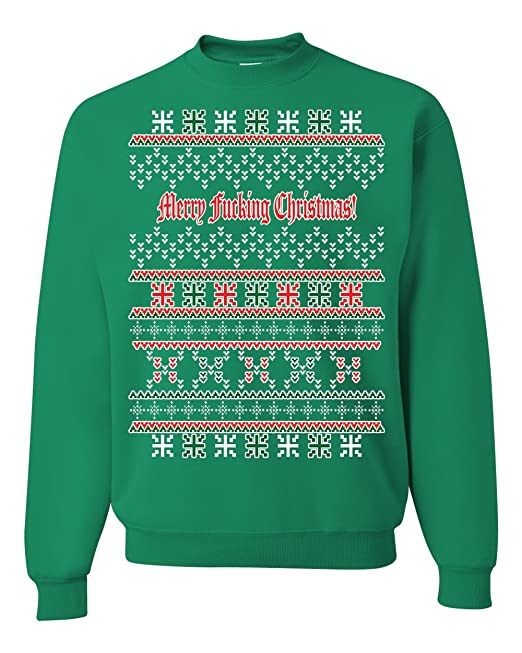 merry fucking christmas ugly christmas sweater unisex crewneck sweatshirt at amazon mens clothing store - Band Christmas Sweaters