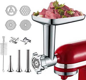 Metal Food Grinder Attachment for KitchenAid Stand Mixers, Included 3 Sausage Stuffer Tubes, 2 Grinding Blades, 4 Grinding Plates, Durable Meat Grinder Attachments for KitchenAid
