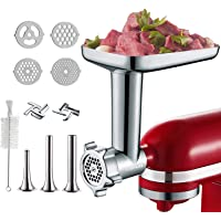 Metal Food Grinder Attachment for KitchenAid Stand Mixers, Included 3 Sausage Stuffer Tubes, 2 Grinding Blades, 4…