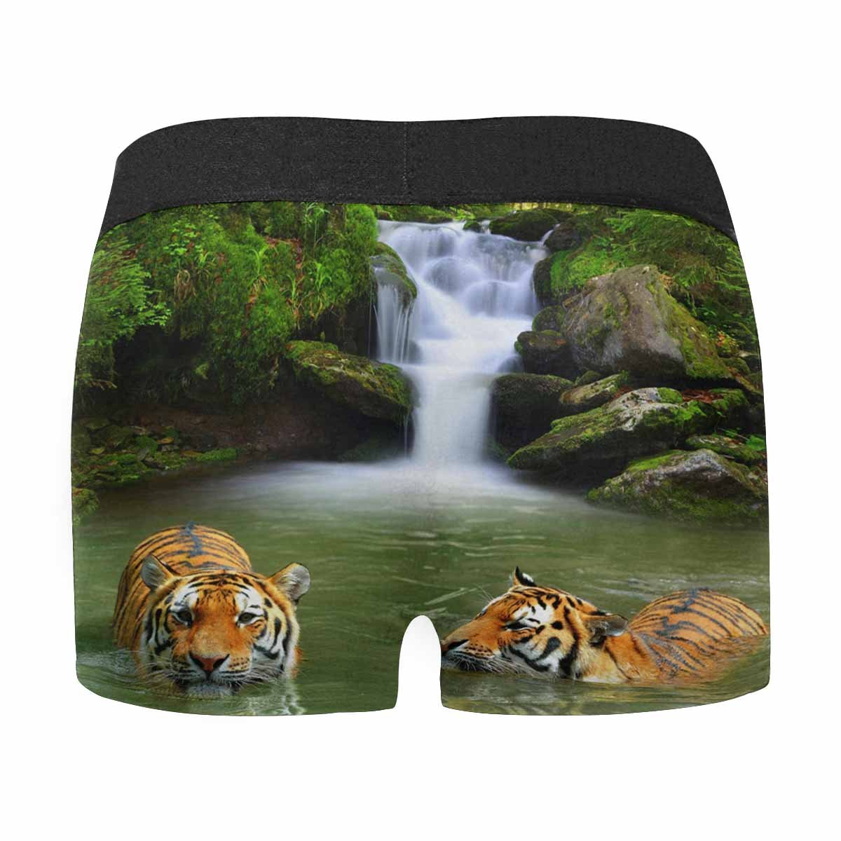 INTERESTPRINT Mens All-Over Print Boxer Briefs Siberian Tigers in Water XS-3XL