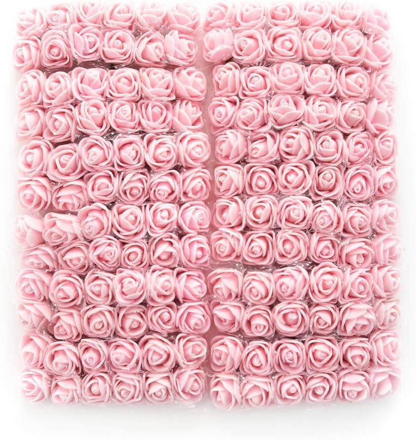 144Pcs Atificial Flowers Mini Foam Roses with stem Wedding Bouquet Decor A4
