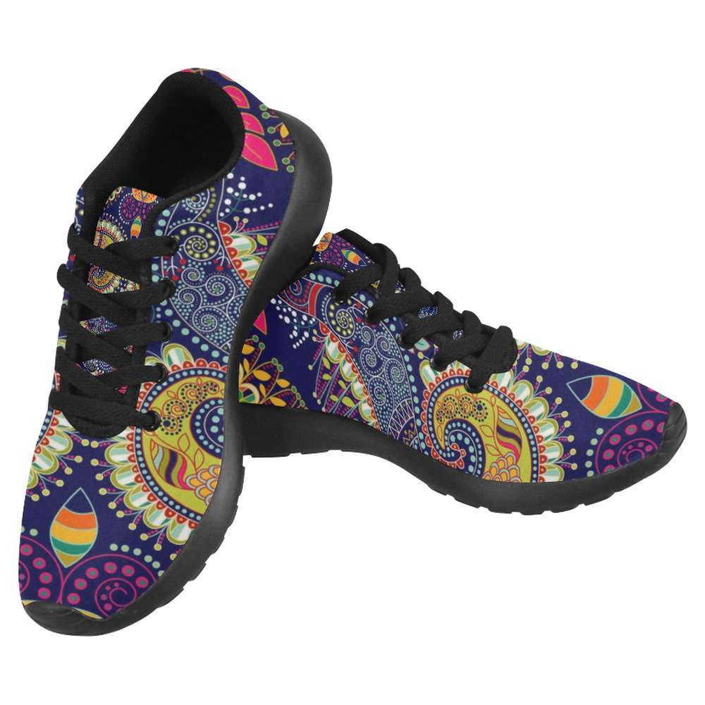 InterestPrint Women's Jogging Running Sneaker Lightweight Go Easy Walking Casual Comfort Running Shoes Size 8 Colorful Paisley