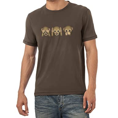 Texlab Three Monkeys Emoji - Herren T-Shirt, Größe S, Braun