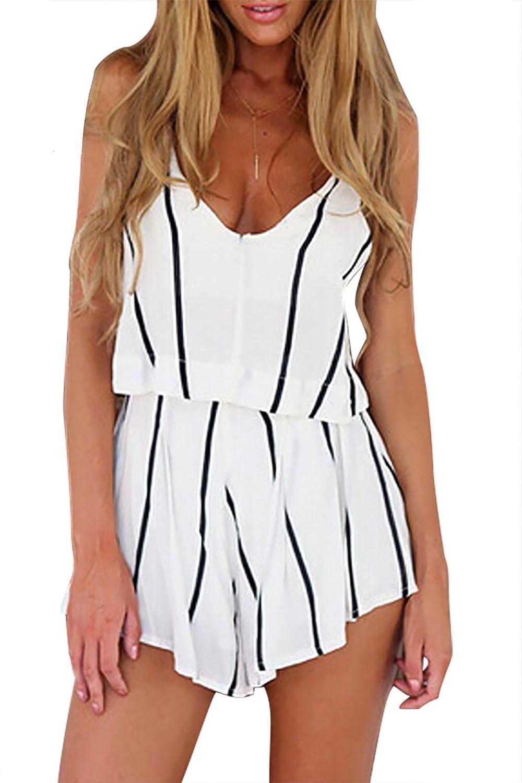 YOINS Women Casual Stripe Pattern Cami Playsuit Romper