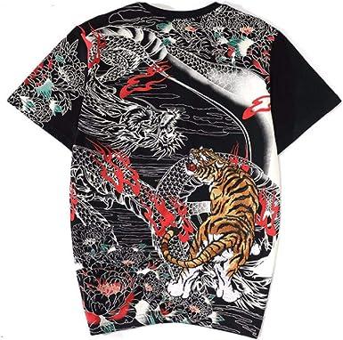 QIROG Camiseta con dragón de Tigre Bordado-Black_4XL: Amazon.es: Ropa y accesorios