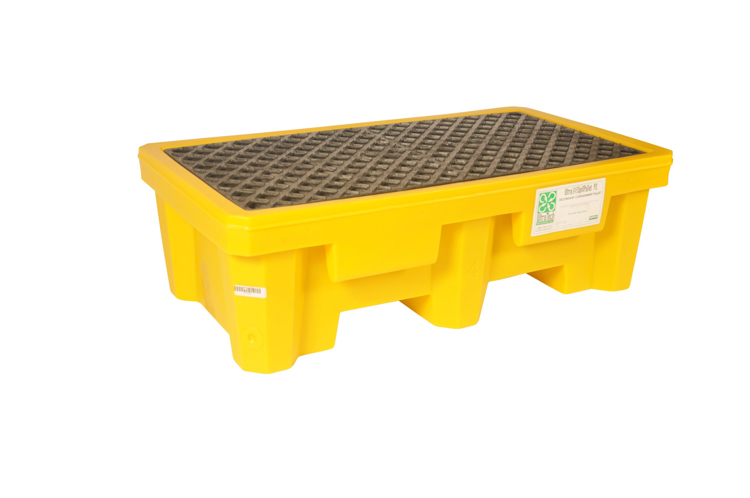 UltraTech 1011 Non-Recycled Polyethylene 2-Drum Ultra-Spill Pallet P2 with Drain, 3000 lbs Capacity, 5 Year Warranty, Yellow