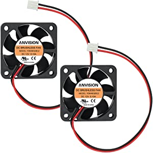 ANVISION 2-Pack 40mm x 10mm DC 12V Brushless Cooling Fan, Dual Ball Bearing, YDM4010B12