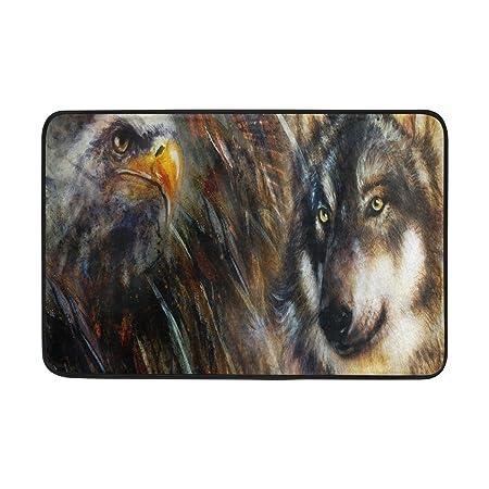 Amazon.com: ALAZA Pintura al óleo Eagle Wolf Felpudo ...
