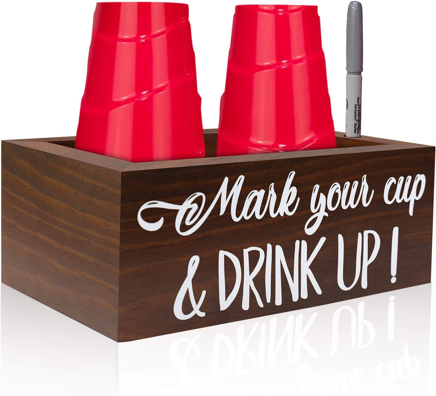 Amazon Com Double Brown Solo Disposable Cup Holder Drink Caddy Party Cup Holder Dispenser Wooden Organizer Storage Marker Holder Mark Your Cup And Drink Up Rustic Farmhouse Bar Party Decor Toys Games