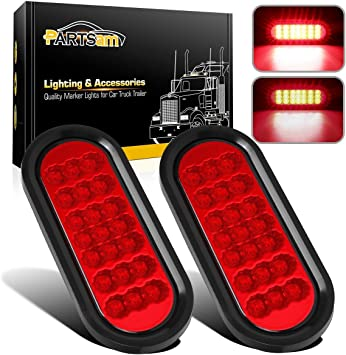 """TWO 6/"""" Oval Red Clear LED Reflective Stop Turn Tail Grommet Mount Trailer Light"""