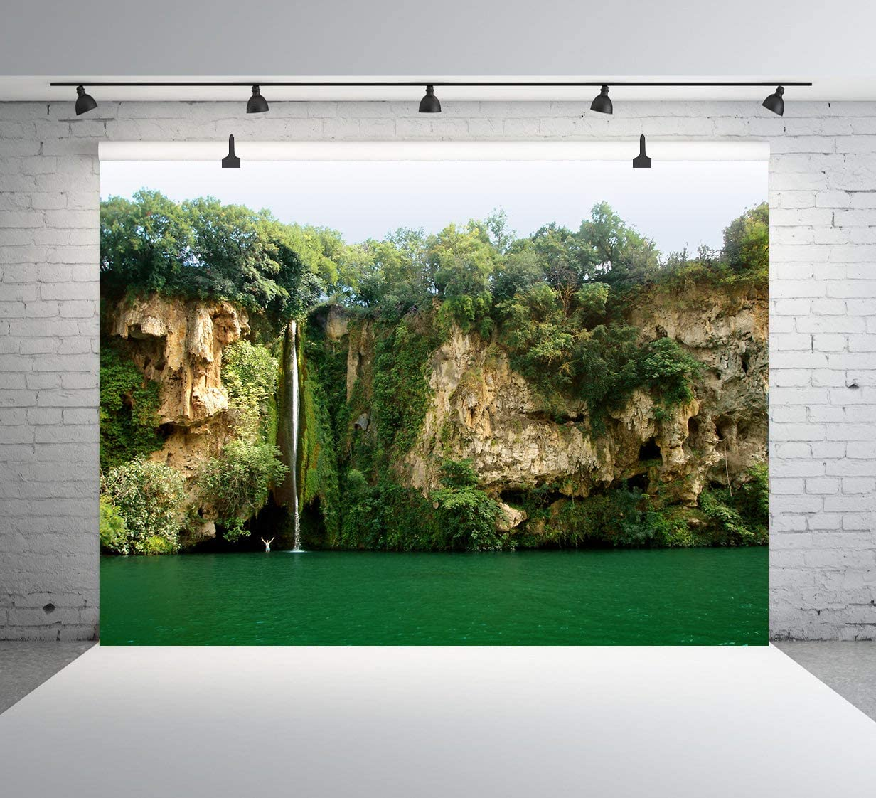 Mountain Waterfall Backdrop Yellow Forest Backdrop Holiday Vacation Party Photography Background Wedding Party Theme Party Photo Booth Studio Backdrop 10x7ft E00T10217