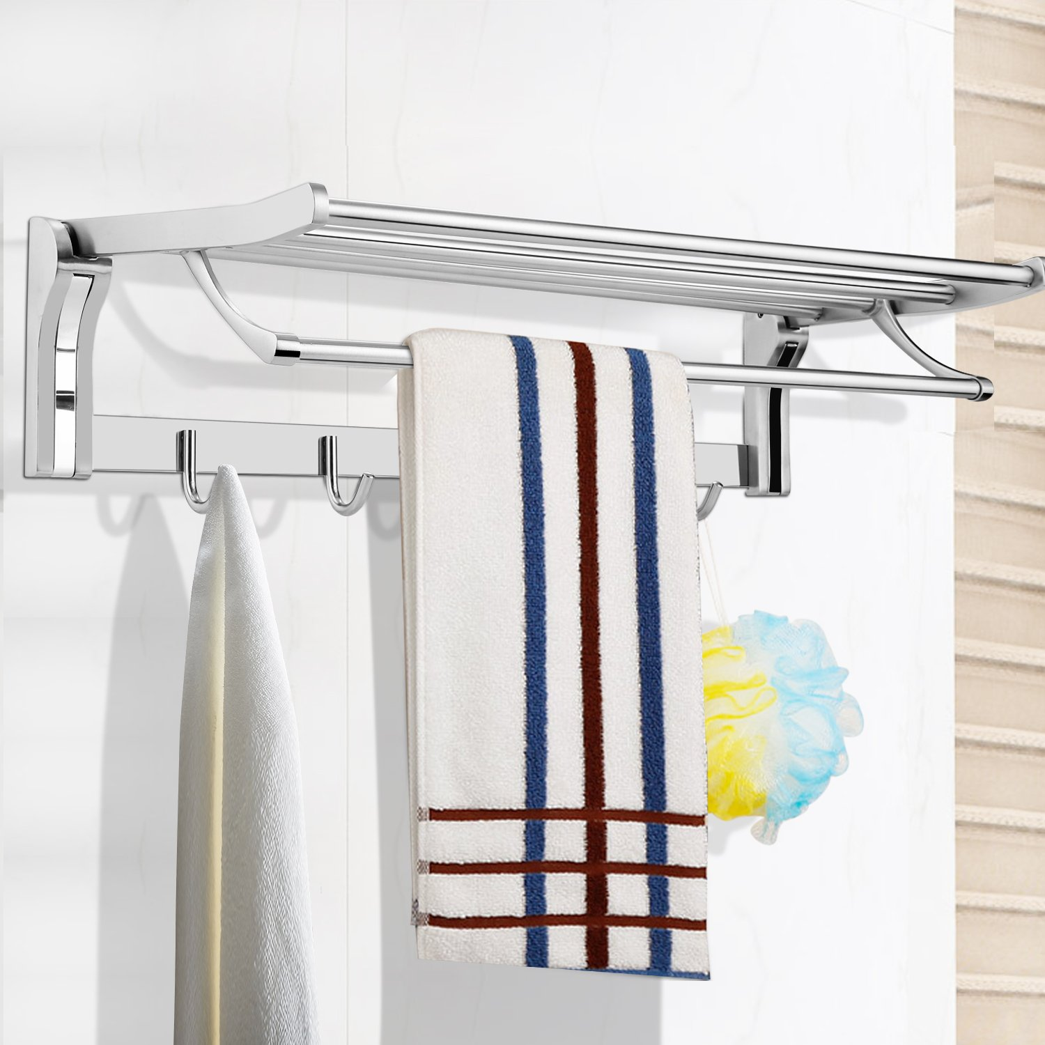 BAZAL 23.6 Inch Bathroom Shelves With Removable Hooks,Stainless Steel Foldable Wall Mounted Double Towel Holder with Towel Bar,Stainless Steel Towel Shelf for Home/Hotel by BAZAL (Image #5)