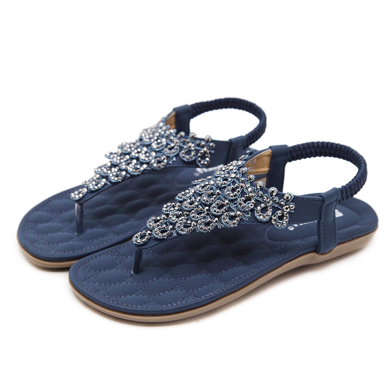 Thong Sandals for Women Beach,Bohemia Floral Flat Sandals T-Strap Summer Beach Glitter Beaded Elastic Flip-Flop Thong Shoes